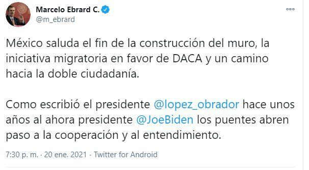 Marcelo Ebrard fin construcción muro Joe BIden