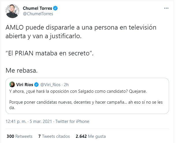 Tuit de Chumel Torres donde citó a Viri Ríos para criticar a AMLO (Foto: captura de pantalla de Twitter @ChumelTorres)