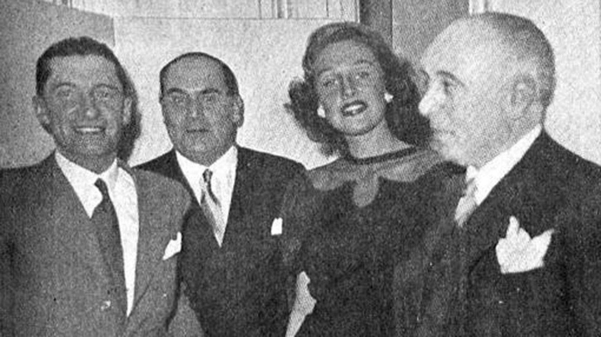 """Malena en una reunión social en Buenos Aires, con motivo de la exhibición en privado del film """"Le romain d'un tricheur"""""""