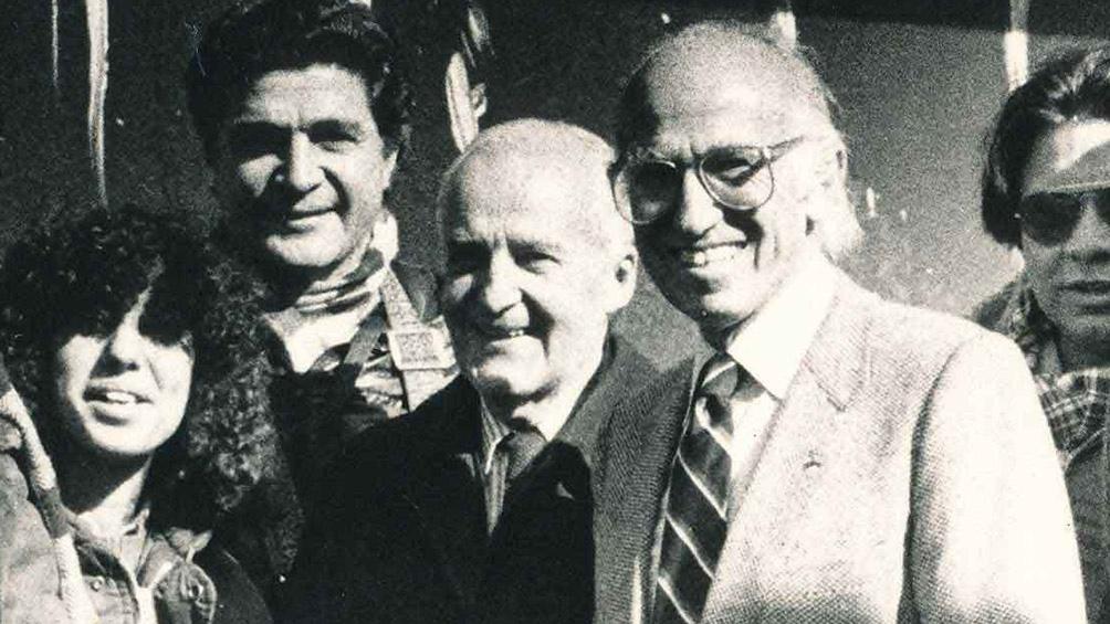 Salk vino al país en 1983. Aquí, en su encuentro con Luis Federico Leloir. (Conicet)