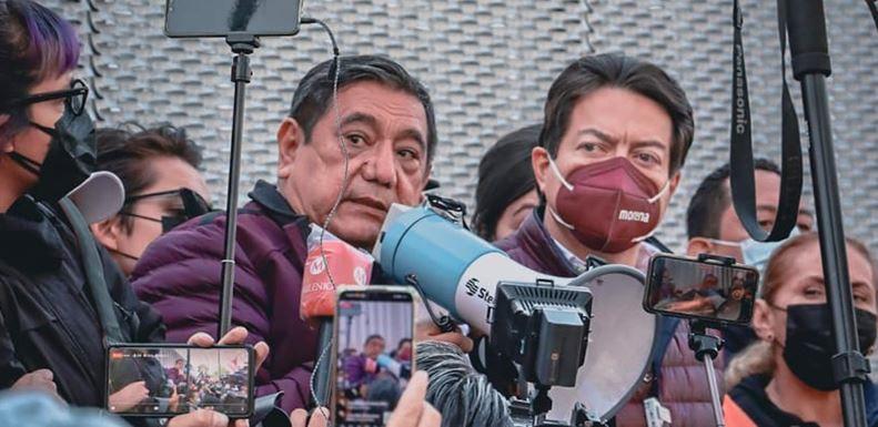 Félix Salgado Macedonio, aspirante al gobierno de Guerrero y Mario Delgado, líder nacional de Morena, trasladaron sus protestas al Tribunal Electoral del Poder Judicial de la Federación (TEPJF). Foto: Morena/Twitter