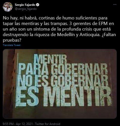 Duras palabras de Sergio Fajardo tras la renuncia de gerente de EPM