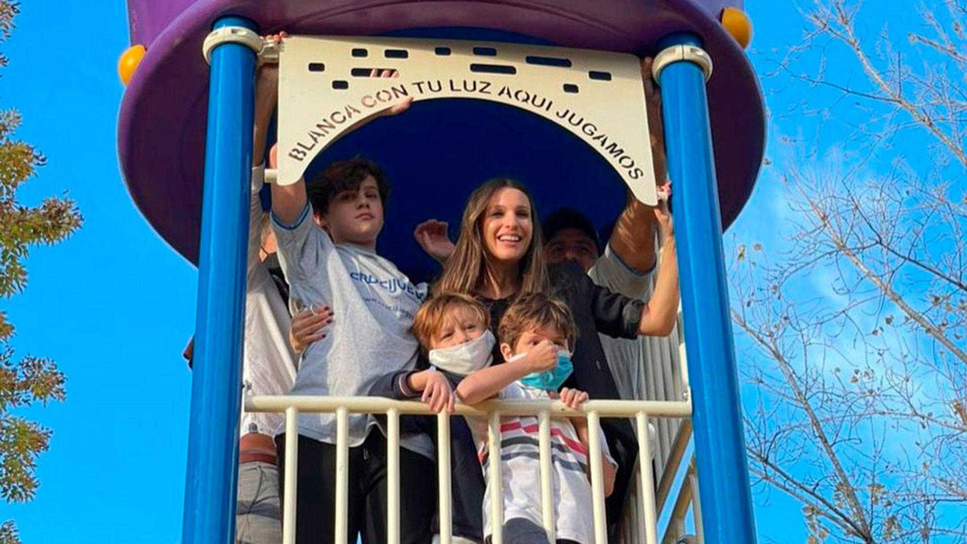 Pampita inauguró una plaza con el nombre de su hija Blanca