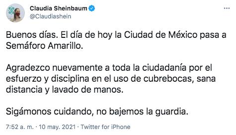 Claudia Sheinbaum, jefa de gobierno de la CDMX, pidió a los capitalinos no bajar la guardia ante el cambio a semáforo amarillo por COVID-19 (Foto: Twitter@Claudiashein)