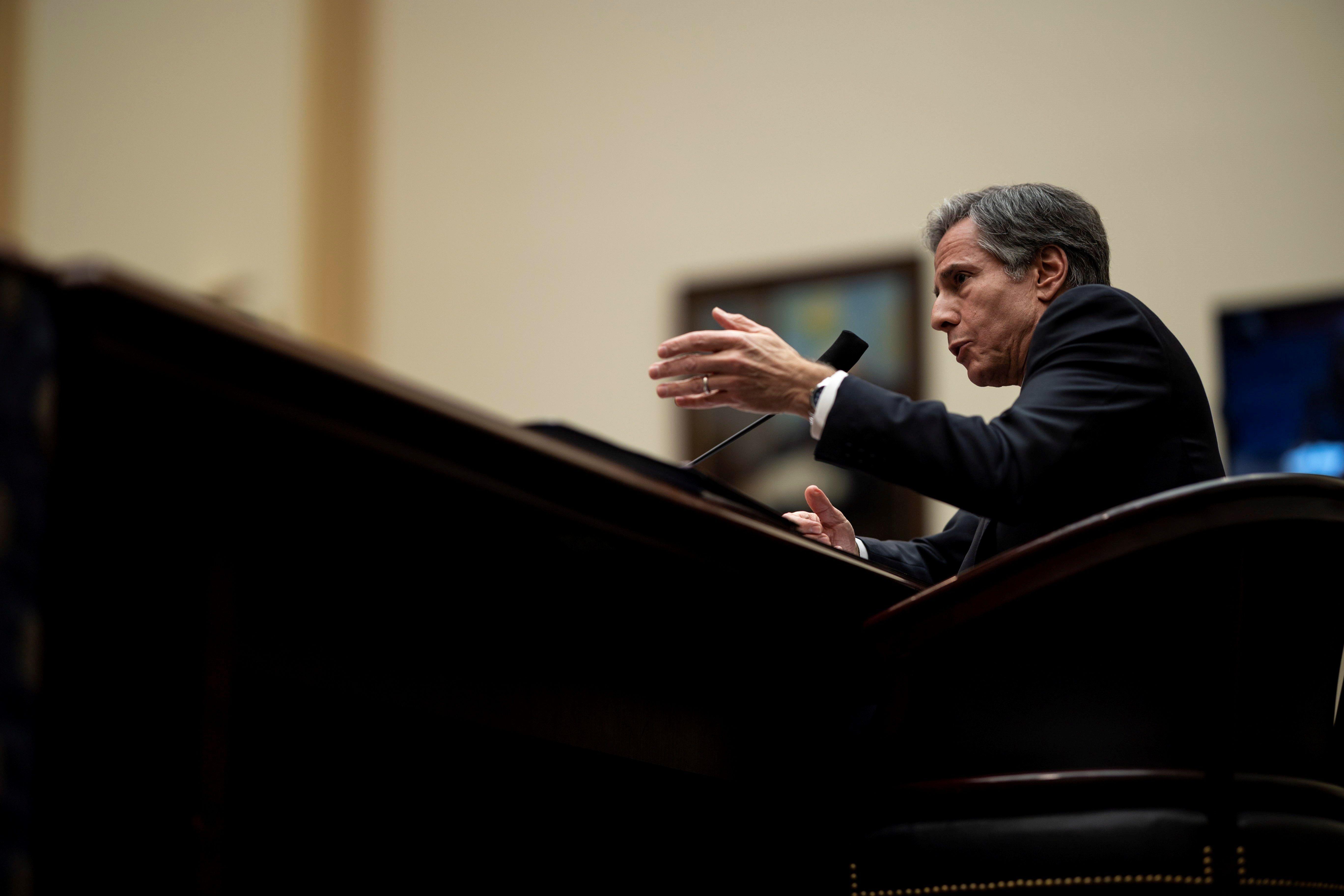 El secretario de Estado de EE.UU., Antony Blinken, fue registrado este miércoles, al intervenir en una sesión del Congreso de su país, en Washington DC