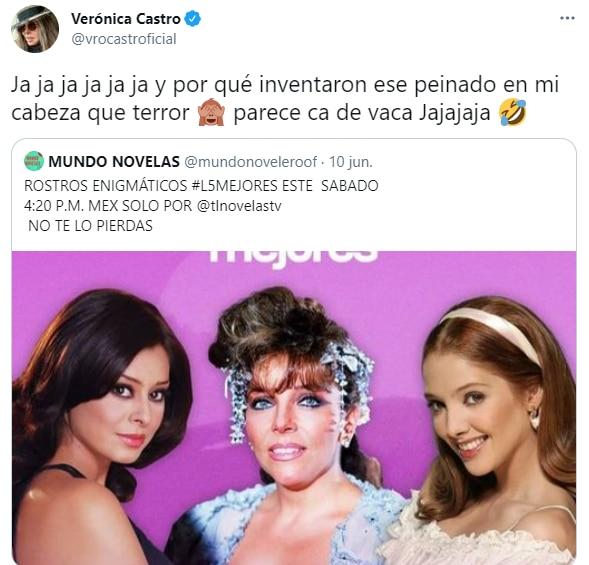 """Verónica Castro se burló del look que lució al final de """"Rosa Salvaje"""". (Foto: @vrocastroficial/ Twitter)"""