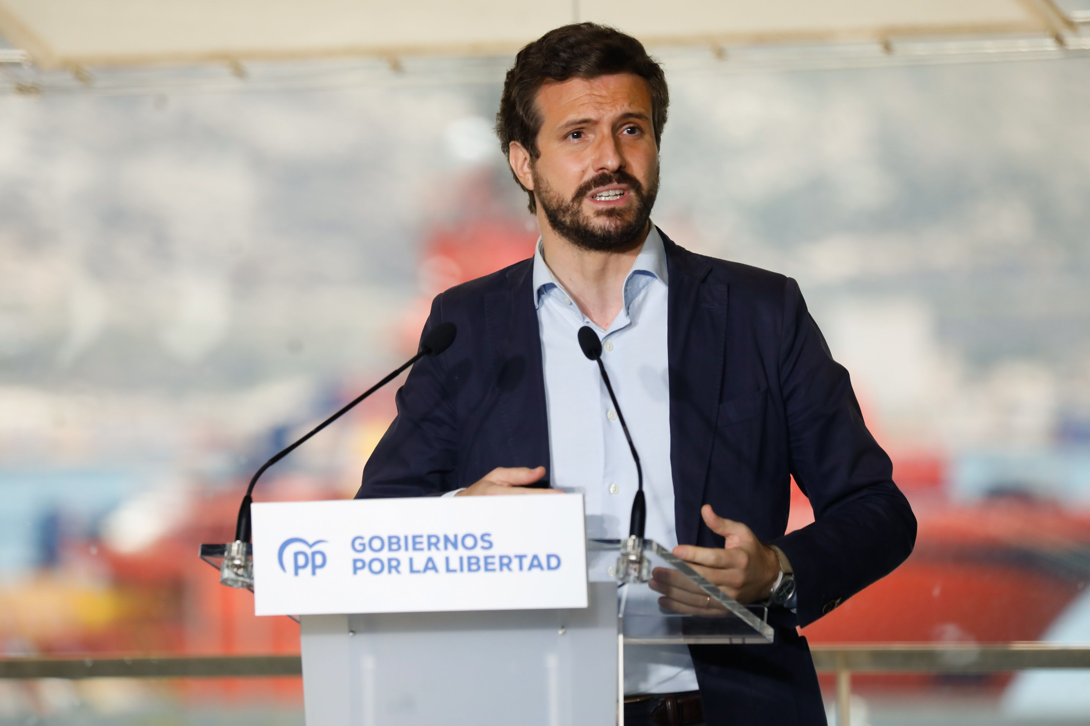 12-06-2021 El presidente del PP, Pablo Casado, en la clausura del acto '2 años de Gobiernos por la Libertad' ESPAÑA EUROPA MURCIA POLÍTICA EDU BOTELLA