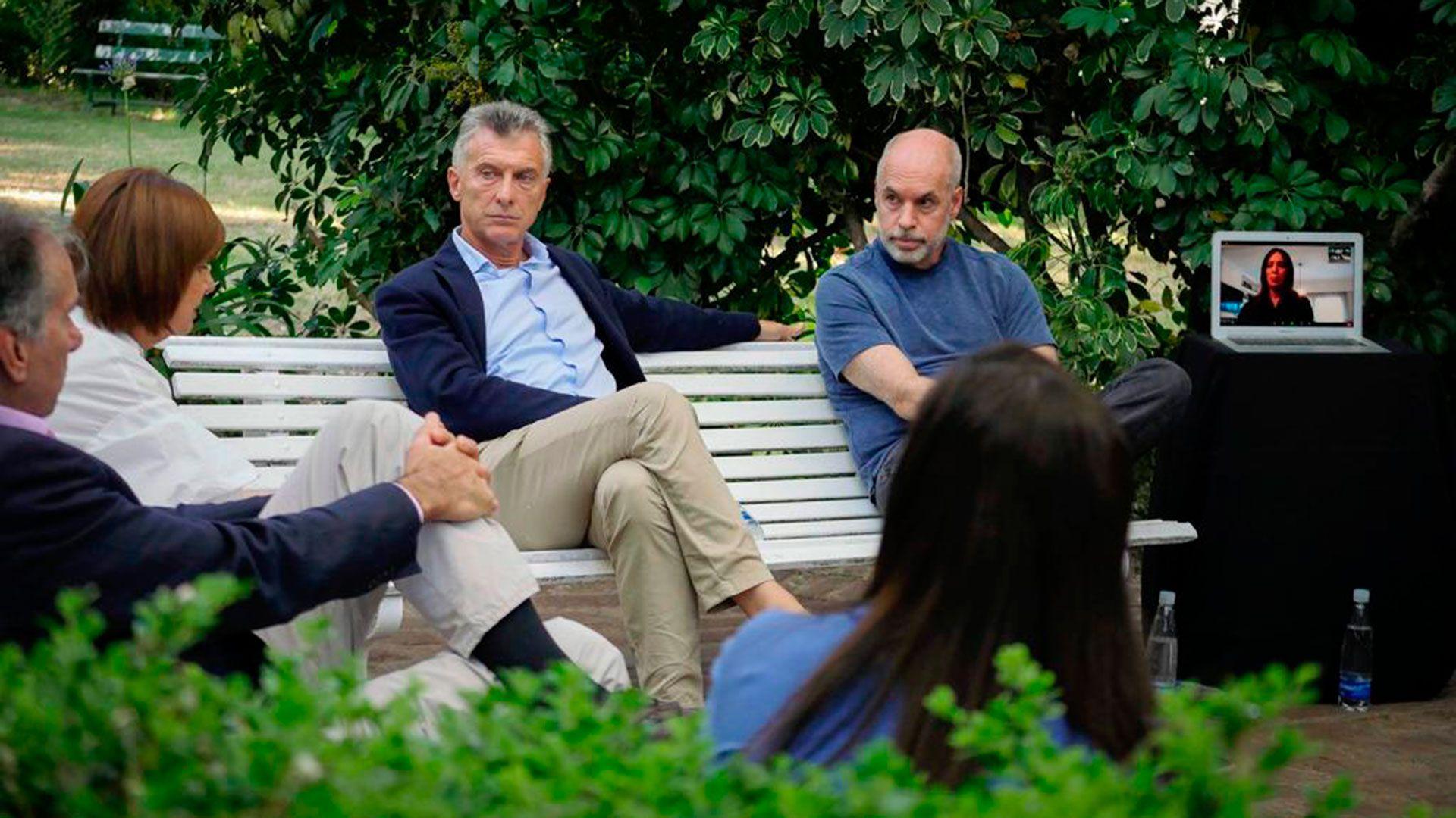 Macri y Rodríguez Larreta en la reunión del PRO en Vicente López