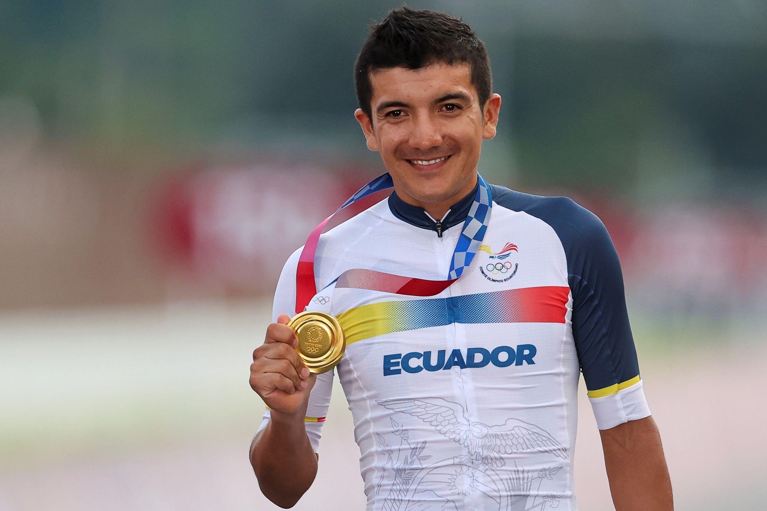 El ecuatoriano Richard Carapaz consiguió la primera medalla para Sudamérica en ciclismo en ruta masculino (Foto: Reuters)