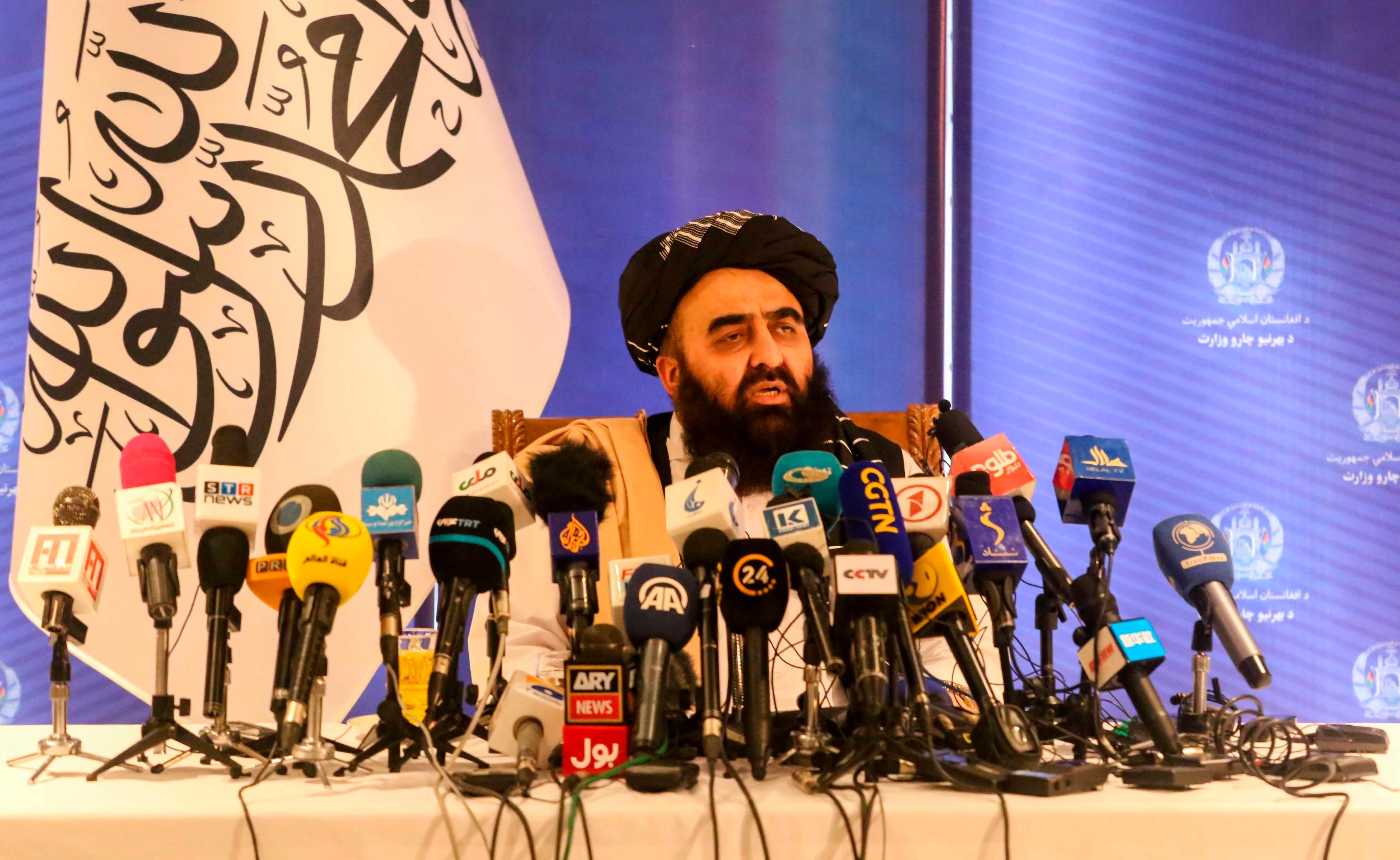Fotografía de archivo en la que se registró al ministro de Exteriores talibán, Amir Khan Muttaqi (Foto: EFE)
