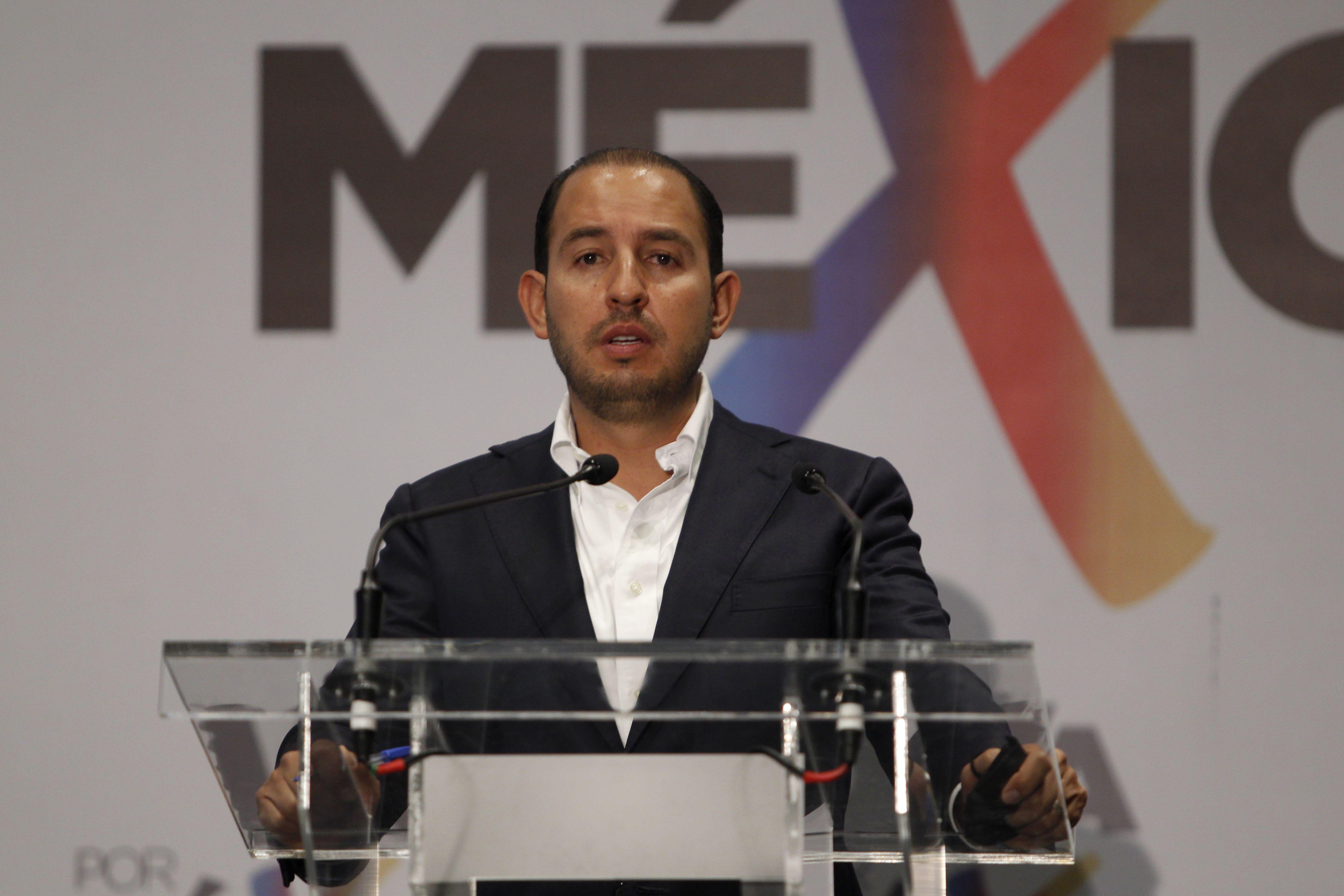 Marko Cortés, presidente nacional del PAN, durante conferencia de prensa en el Hotel Hilton (Foto: Karina Hernández / Infobae México)