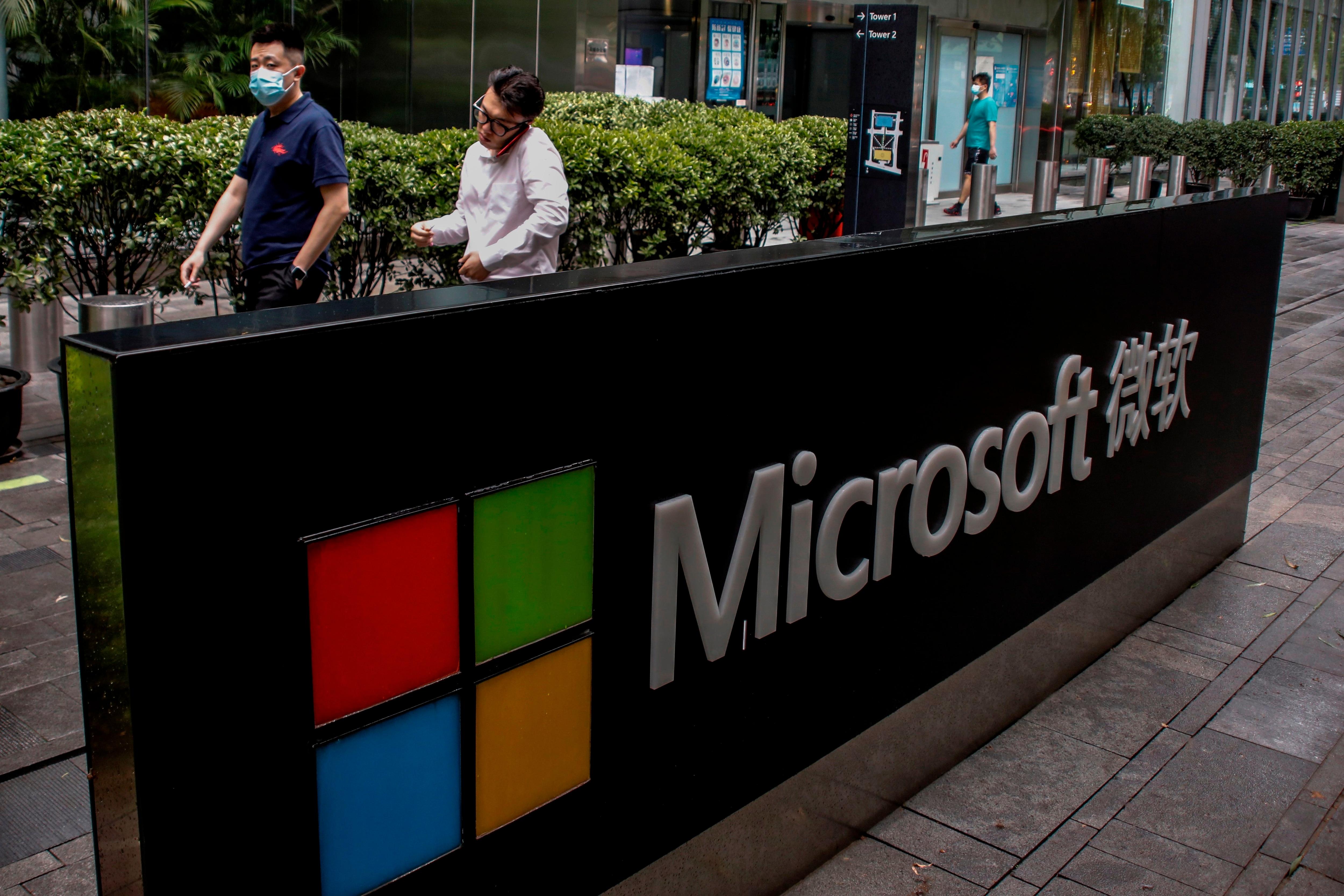 Fotografía de archivo del logo de la compañía Microsoft. EFE/EPA/WU HONG