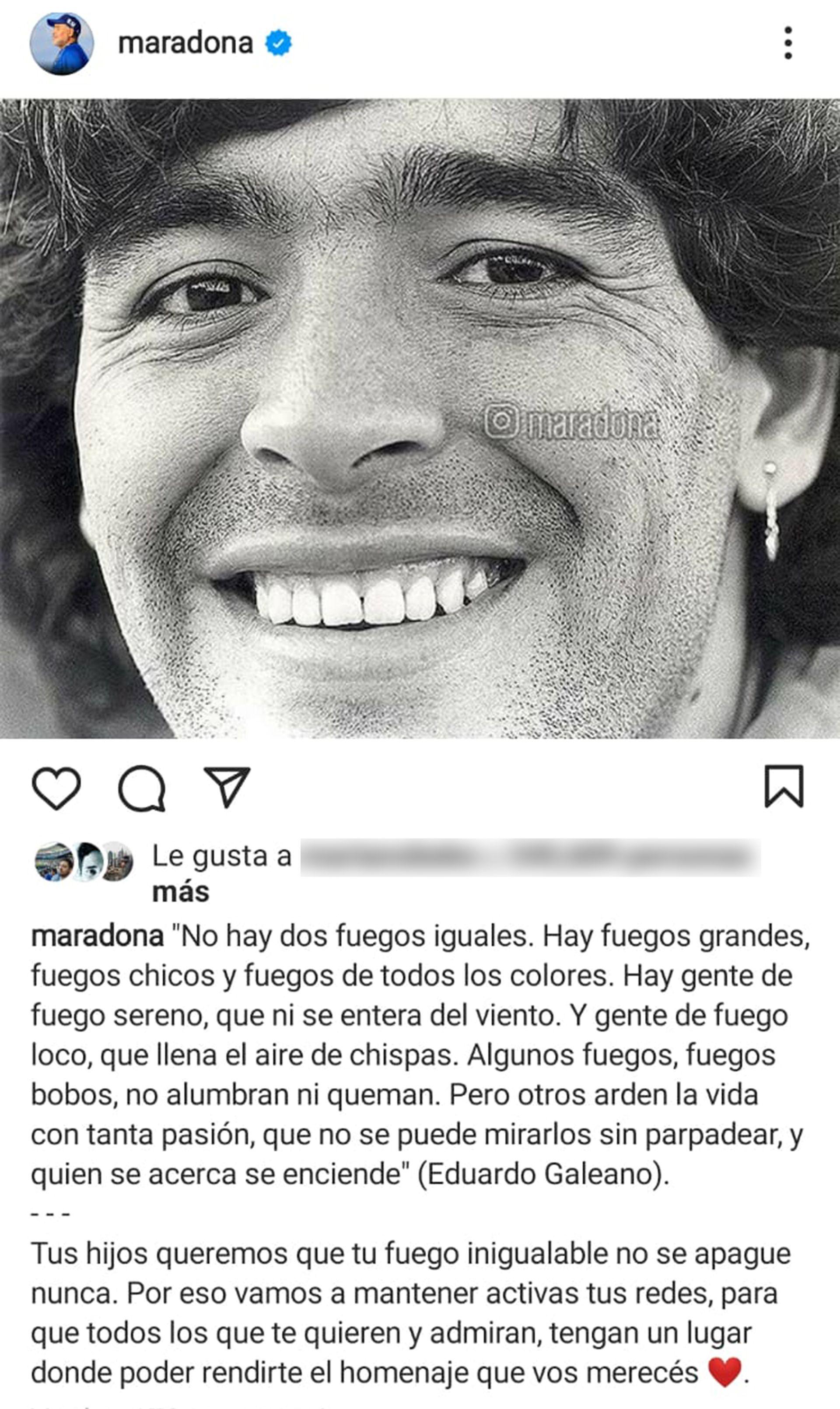 Publicación Diego Maradona en Instagram