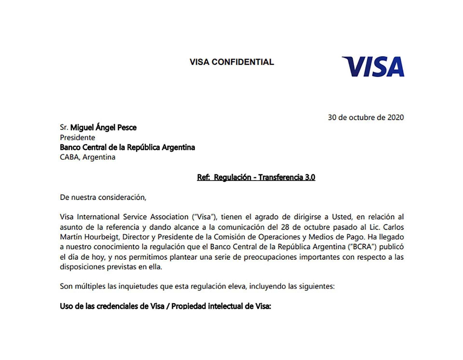 Carta de Visa al BCRA