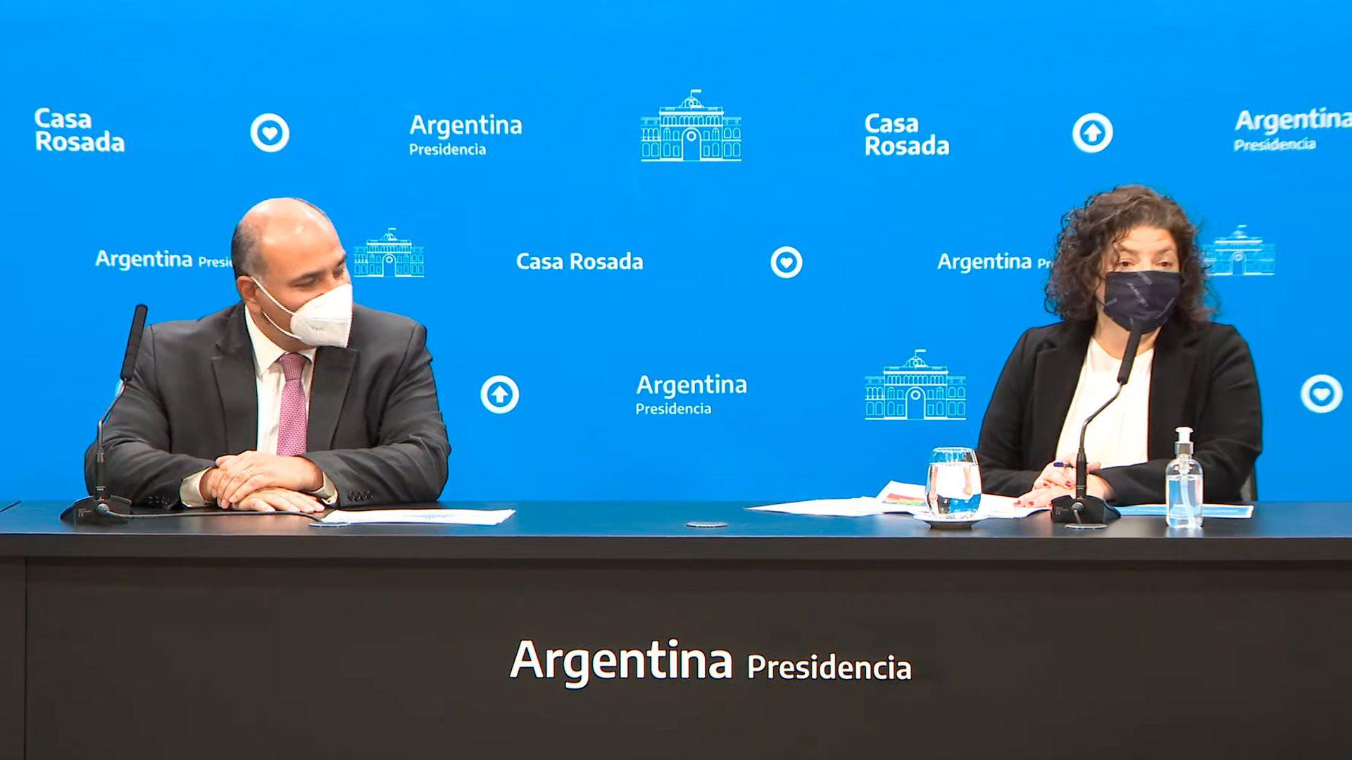 Conferencia de prensa del jefe de Gabinete, Juan Manzur y de la ministra de Salud, Vizzotti