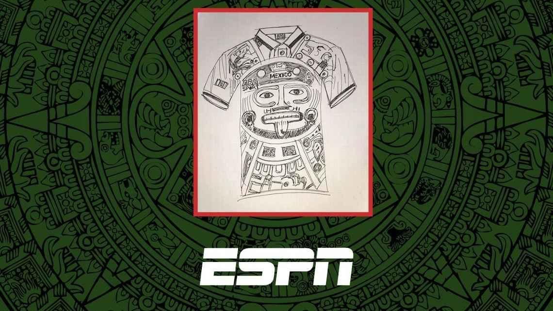 Primer boceto del jersey camiseta de México en Mundial de Francia 1998 (Foto: ESPN/Ricardo Guzmán)