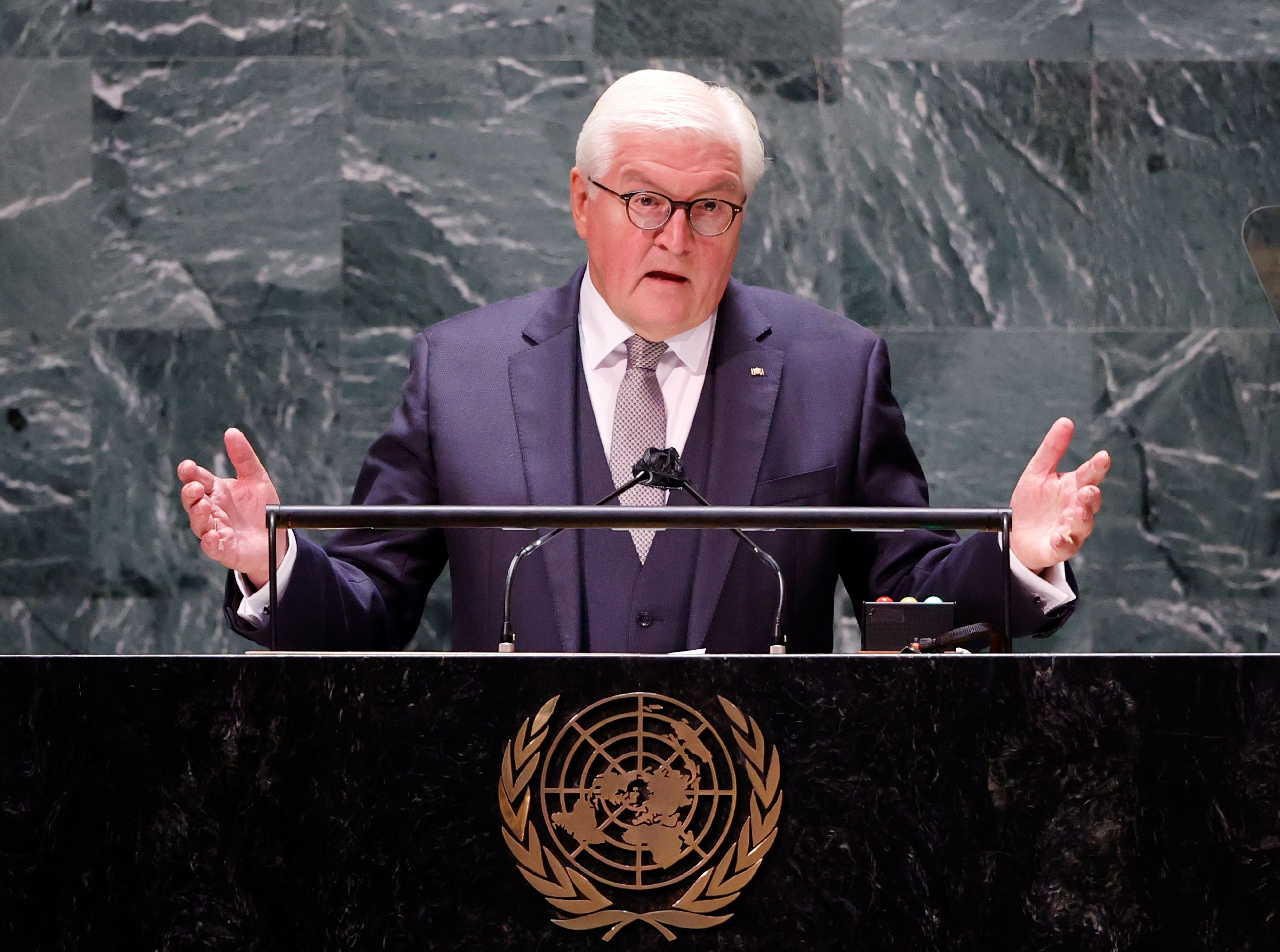 El presidente alemán, Frank-Walter Steinmeier ante la Asamblea de la ONU, en Nueva York (John Angelillo/Pool via REUTERS)